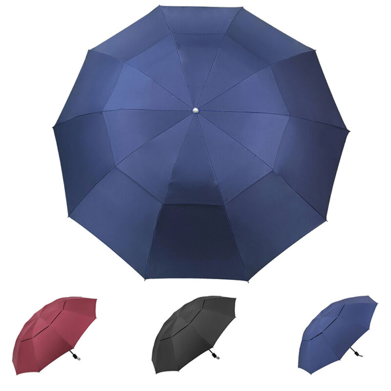 "60"" Large Umbrella Men/Women Three Folding Anti-UV Windproof Big Rain Umbrella"