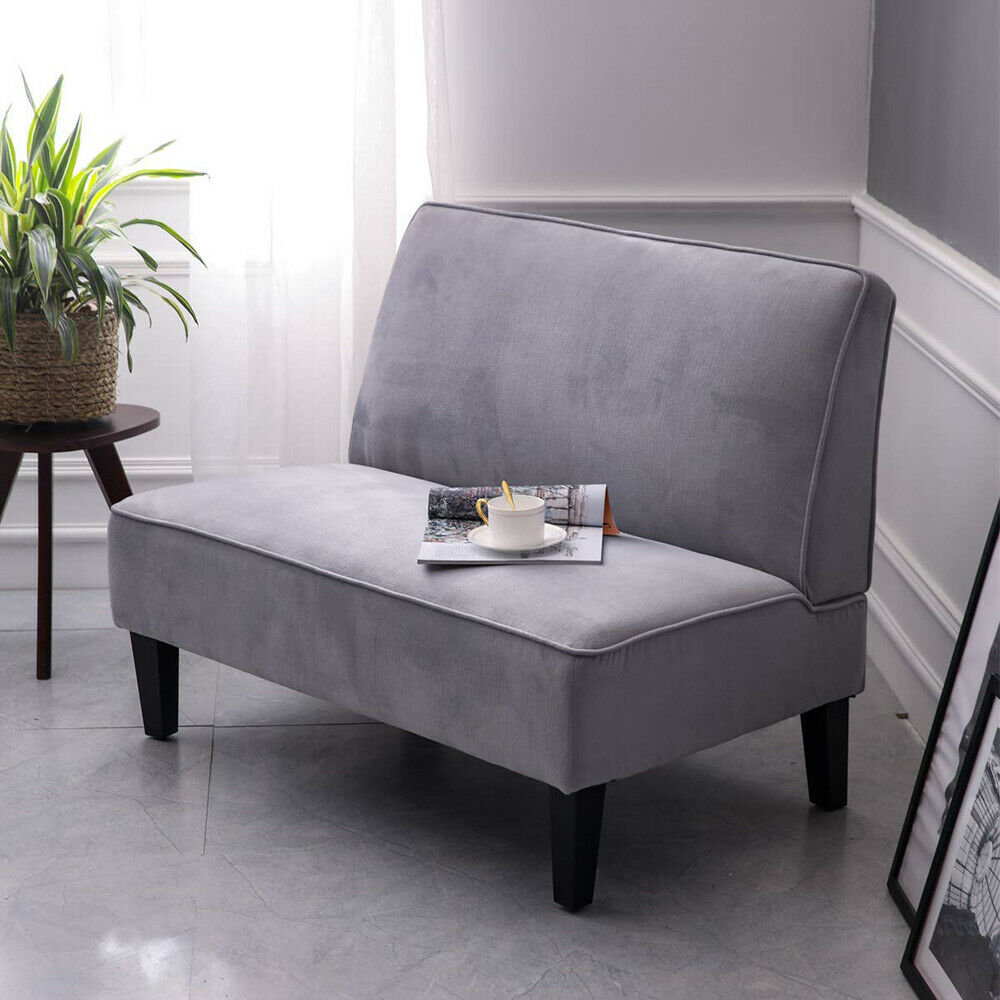 Upholstered Armless Settee Couch Loveseat Sofa Living Room B