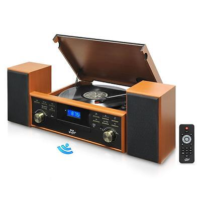 New Bluetooth Turntable Vintage Style & 2 Speaker Vinyl/MP3 Recording Wood Color