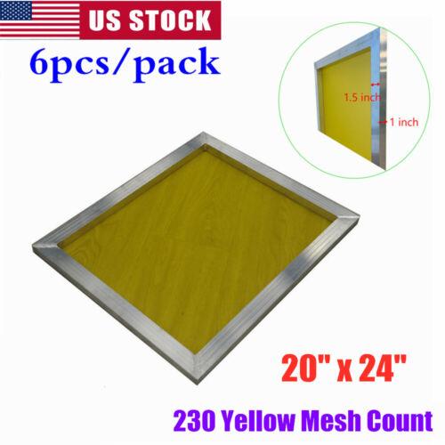 "USA! 6 pcs -20"" x 24""Aluminum Frame Screen Printing Screens With 230 Mesh Count"