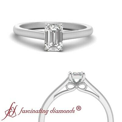 Platinum Solitaire Bow Engagement Ring With 1/2 Carat Emerald Cut Diamond Center