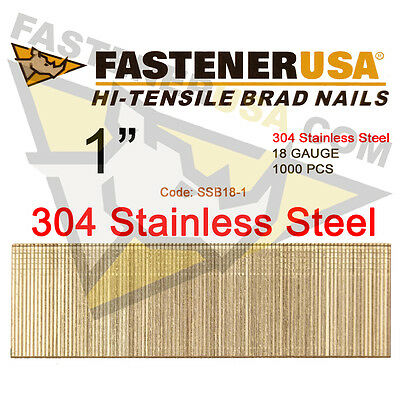 1 18 Gauge Straight Brad Finish Nails Stainless Steel 18 Ga 1000 Ct