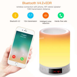 Rechargable Stero Bluetooth Speaker RGB Smart Night Light LED Lamp Alarm Clock