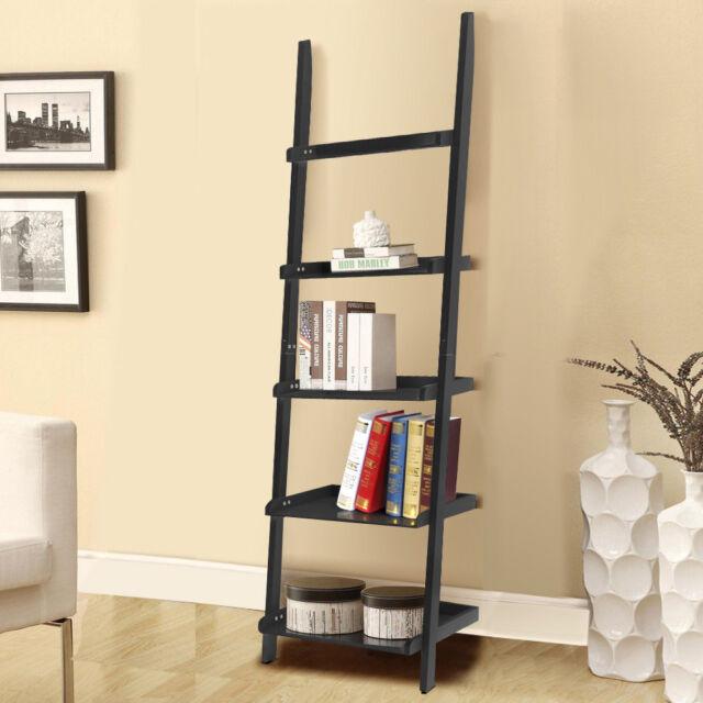 Leaning Ladder Bookcase Bookshelf 5 Shelves Contemporary Wall Shelf Stand  Black