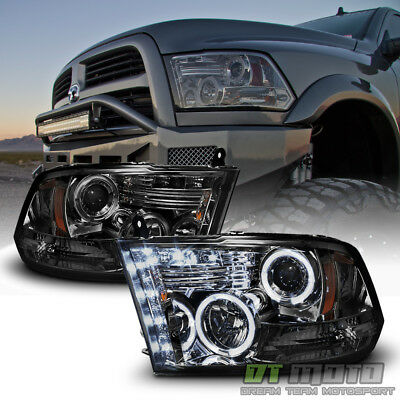 Smoked 2009-2018 Dodge Ram 1500 2500 3500 Halo LED Projector Headlights Headlamp