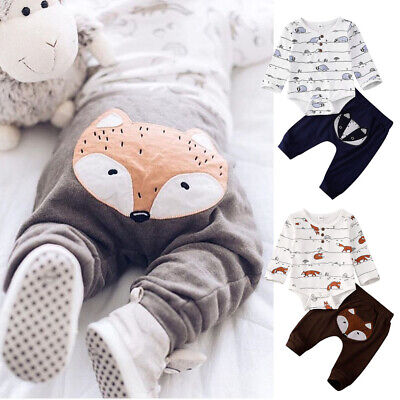 US Newborn Baby Boy Girl Fox print Tops Romper Long Pants Autumn Outfits Clothes