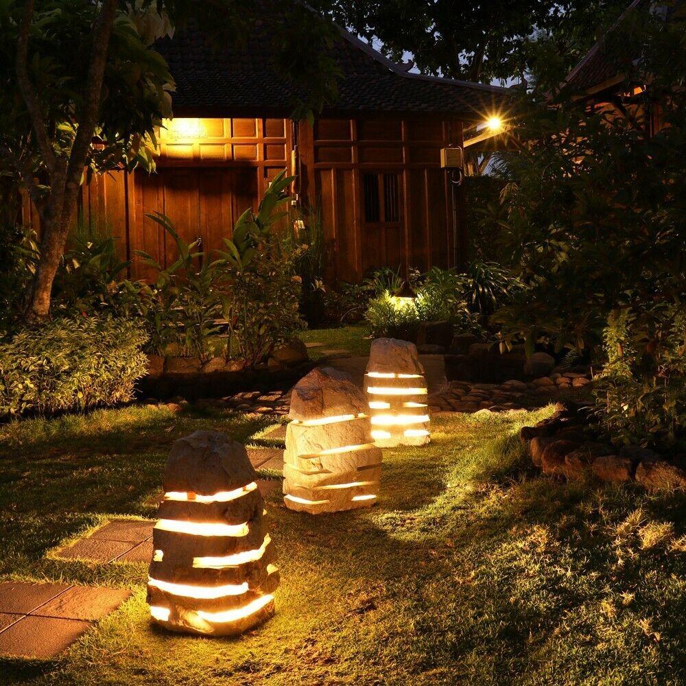wohnfreuden Naturstein Garten-Leuchte Marmor ca. 50 cm Gartenlampe mit Elektrik