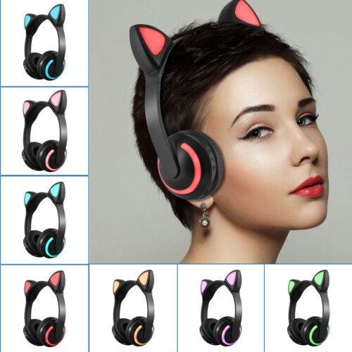 Wireless Bluetooth Headphone Cat Ear Headband LED Lights Hea