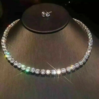 32Ct Round Cut Diamond Tennis Necklace Solid In 14K White Gold Finish Free Stud