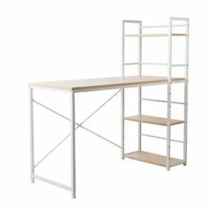 Jeri Metal Frame Desk with Shelves White and Oak Top - SHMET-DESK-1111-OA
