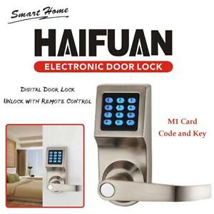 NEW HAIFUAN Digital Door Lock,Unlock with Remote Control, M1 Card, Code and Key Condtion: New
