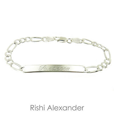 925 Sterling Silver Adult ID Figaro Bracelet Name Personalized Engraved