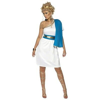 Womens Goddess Costume Greek Roman Egyptian Toga Gown White Fancy Dress Adult
