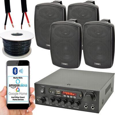 Exterior Altavoz Bluetooth Kit – 4x 60W Negro – Amplificador Estéreo Jardín...