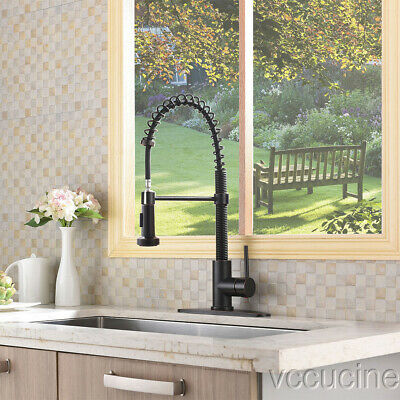 "Oil Rubbed Bronze Leed Free Pull Down Sprayer Kitchen Faucet with 10""cover"