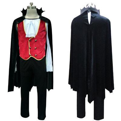 Men Classic Vampire Black Velvet Hooded Cloak Cosplay Costume Adult Mens - Vampire Costumes For Men