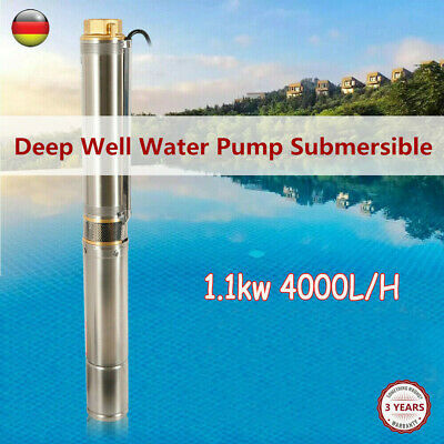 New Submersible Deep Well Water Pump 4 Inch 1.1kw 4000 Lh 6 Bar Stainless Steel