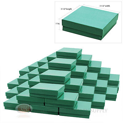 """50 Teal Blue Cotton Filled Jewelry Gift Boxes 3 1/2"""" x 3 1/2"""" Bracelet Charm Box"""