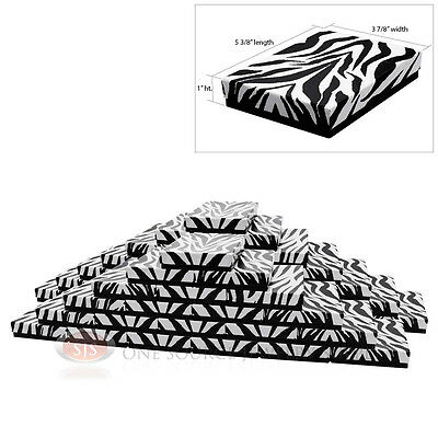 50 Zebra Print Cotton Filled Jewelry Gift Boxes 5 38 X 3 78 X 1h