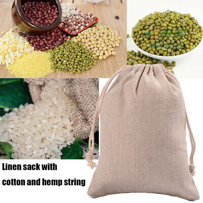 Used, 3x Reusable Jute Burlap Sacks Gunny Drawstring Bag Cereals Potato Race Sand Bags for sale  Shipping to Canada