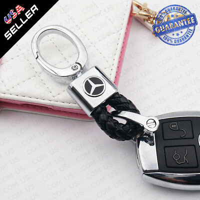 Black Calf Leather Alloy Logo Emblem Keychain Decoration Gift Accessories AMG