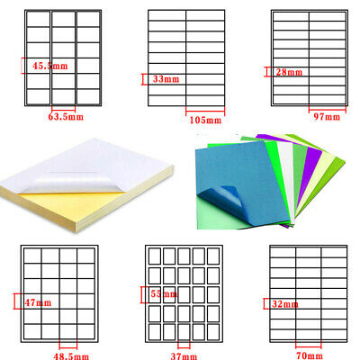 Printer A4 Sticker Paper Color Label Matt Self Adhesive Cut Multiple Labels In1