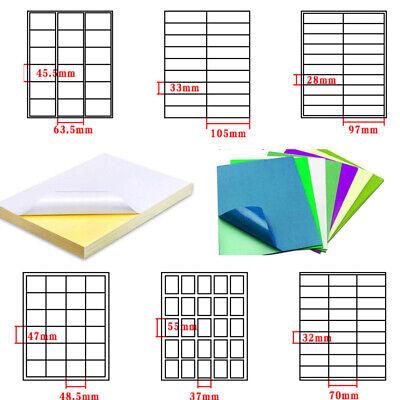 Printer A4 Sticker Paper Color Label Matt Self Adhesive Cut Multiple Labels In1