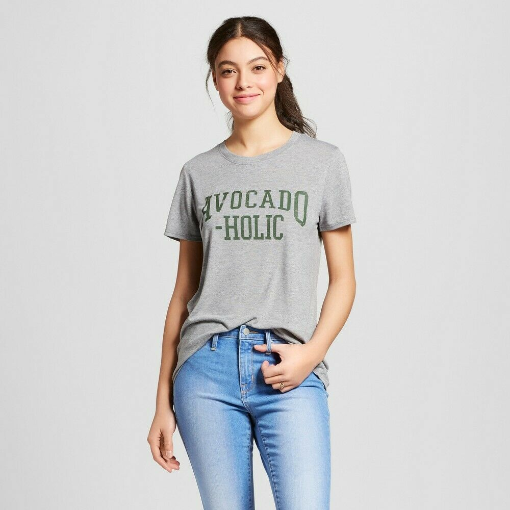 Women's Avocado-Holic Short Sleeve Crew Neck T-Shirt – Modern Lux (Juniors') M Clothing, Shoes & Accessories