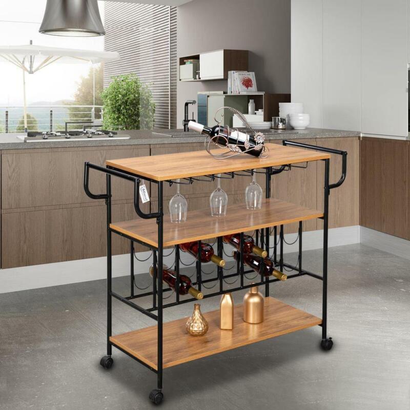 Kitchen Home Serving Carts Rolling Bar Wine Glass Holder 3 Tier Storage Shelves