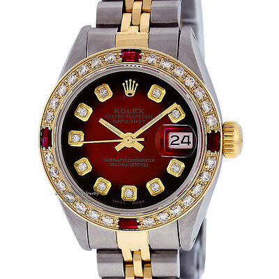 ROLEX LADY DATEJUST SS & 18K YELLOW GOLD RED VIGNETTE DIAMOND & RUBY WATCH