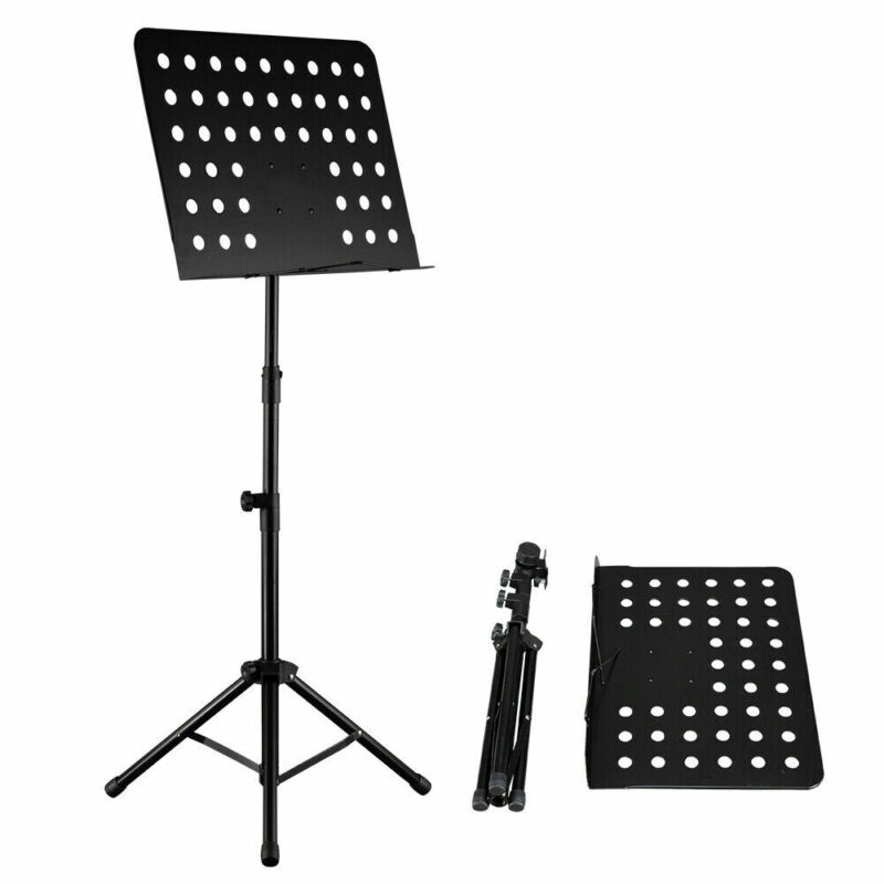Adjustable-Height Heavy Duty sheet Music Stand Folding Tripod Big Plate Black