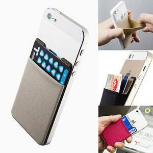 Universal-Lycra-Cell-Phone-Wallet-Case-Credit-Card-Holder-Stick-On-3M-Adhesive