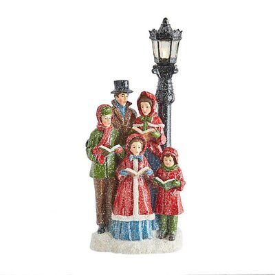 """Raz Imports Home For The Holidays 15.75"""" Carolers With Lighted Lamppost"""