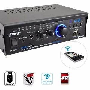 PYLE PCAU48BT Bluetooth Mini Stereo Power Amplifier, 2 x 120 Watt, USB/SD, RCA, 3.5mm AUX  Input and Remote Control