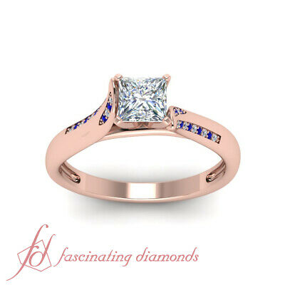 Affordable Engagement Ring With 0.65 Carat Princess Cut Diamond & Sapphire GIA 1