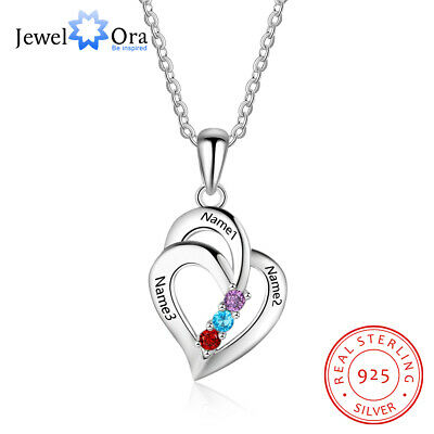 Personalized Name Necklace Heart DIY Birthstone 925 Sterling Silver Women Gift New Name Necklace