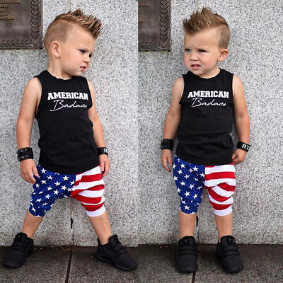 2PC Infant Baby Boy Girl 4th Of July US Flag Print T-shirt Tops+Pants Outfit Set