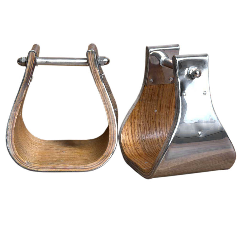 Horse Western Saddle Stainless Steel Bounded Wooden Stirrups Wide Roping U-03-5