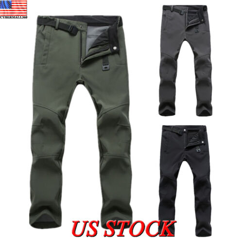Men Pants Thick Warm Hiking Windproof Skiing Winter Trousers