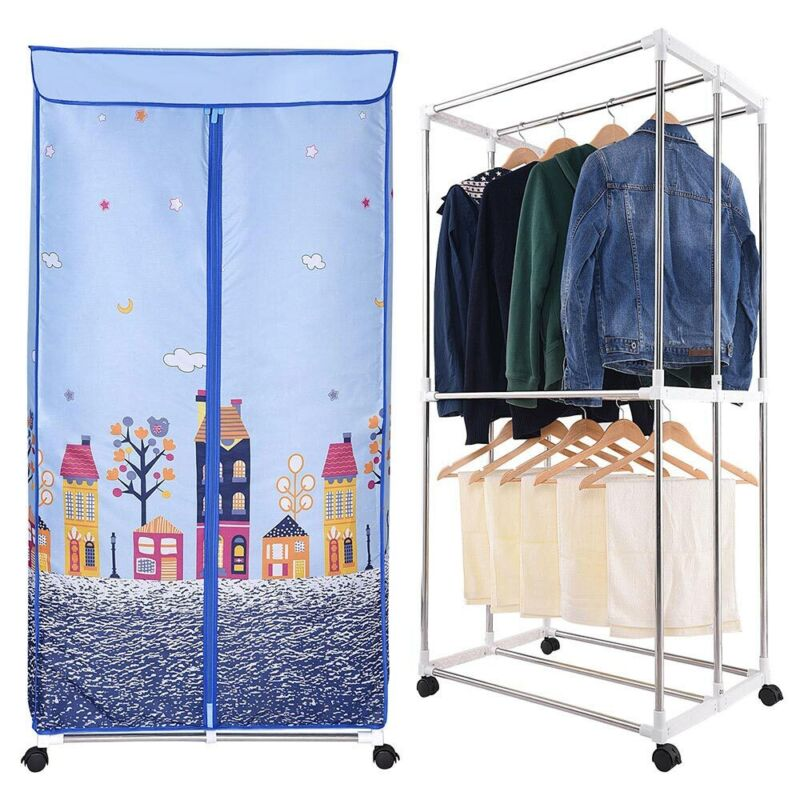 Electric Clothes Dryer Portable Wardrobe Drying Rack Heat Heater Laundry Machine