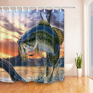 Large Bass Fish Decor In Ocean Waterproof Fabric Bathroom Shower Curtain 71Inch