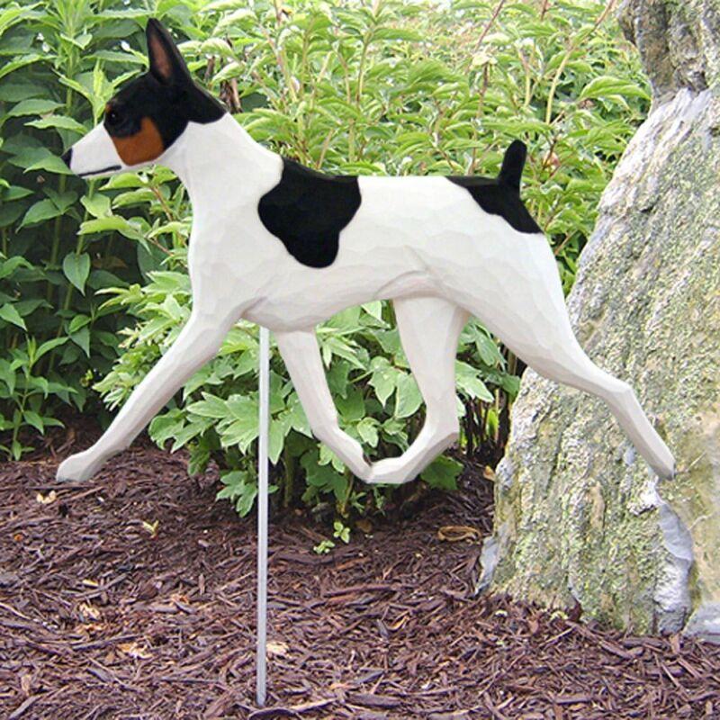 Rat Terrier Outdoor Garden Sign Hand Painted Figure Tri