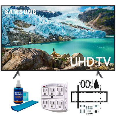 "Samsung 50"" RU7100 LED Smart 4K UHD TV 2019 Model with Slim Wall Support Bundle"