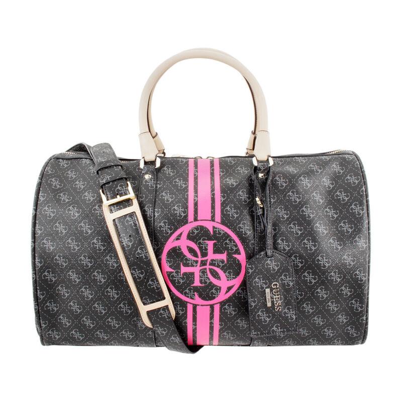 Guess Quattro G Overnight Ladies Medium Coal Leather Duffle Bag SG505436-COA