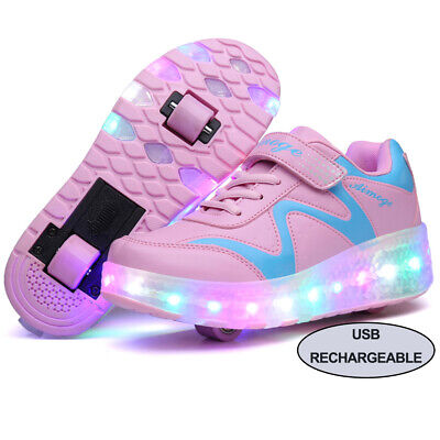 Kids Led Light Up Roller Skate Shoes Rechargeable Dual Wheels Sneakers Fast Ship