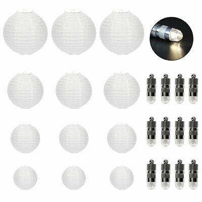 12er weiß Papier Laterne Lampions rund Lampenschirm Hochtzeit Deko Papierlaterne