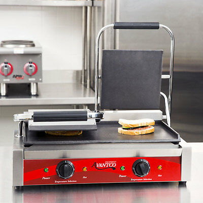Double 8 X 8 Smooth Top Bottom Electric Commercial Panini Sandwich Gril