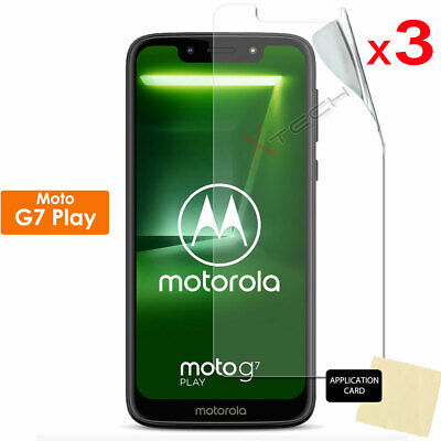 3 Pack of CLEAR LCD Screen Protector Cover Guards for Motorola Moto G7 Play