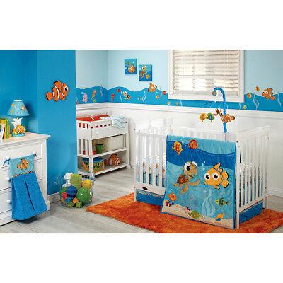 (Disney Finding Nemo Luxury Applique 4 Piece Baby  Crib Bedding Set - Sea life )