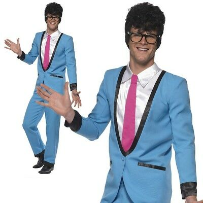 Adult Teddy Boy Costume 50s Rocker Mens Fancy Dress Buddy Holly Outfit New